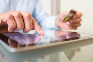 Online shopping-tablet and credit card