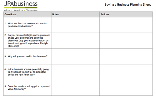 Buying a Business Planning Sheet image