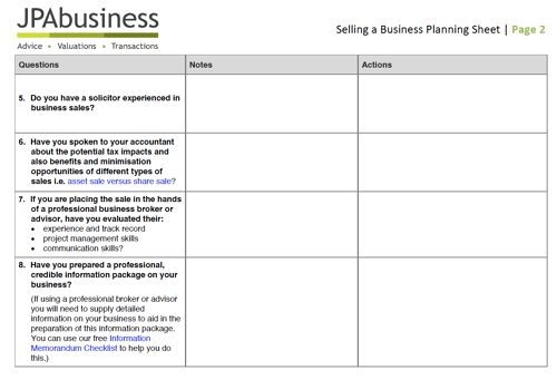 Selling a business planning sheet image
