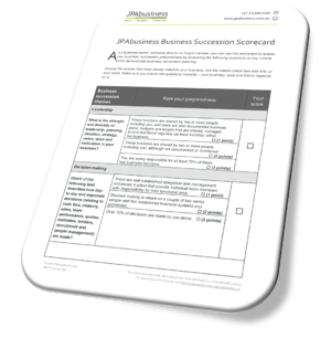 Business Succession Scorecard page 1 image