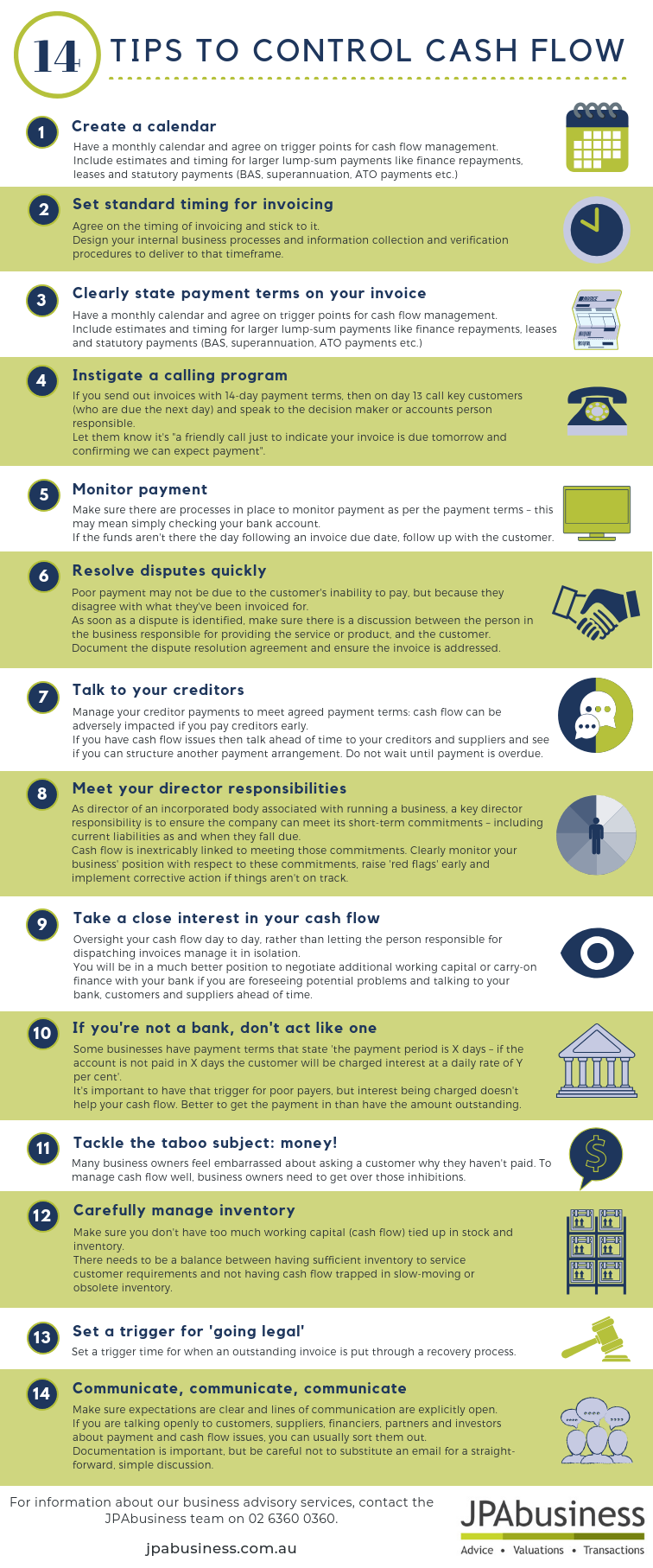14 tips to control cash flow cheat sheet