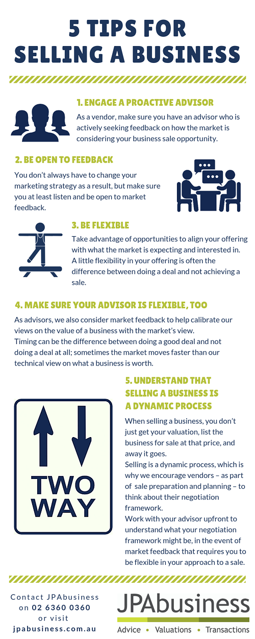 5 tips for selling a business infographic