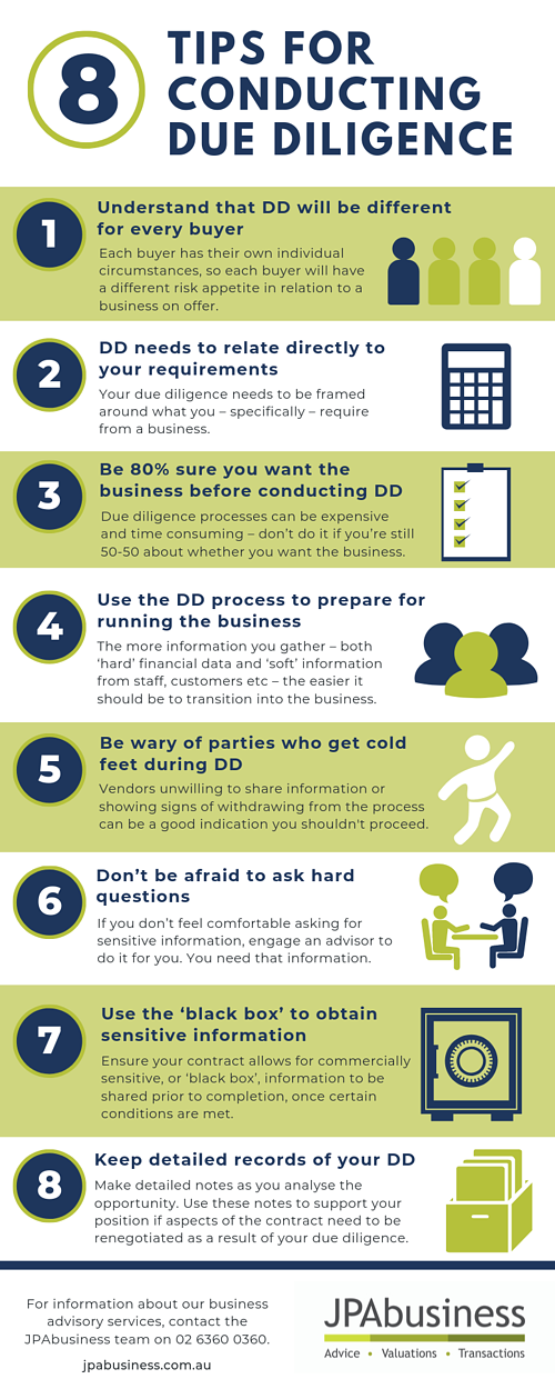 8 tips for conducting due diligence infographic