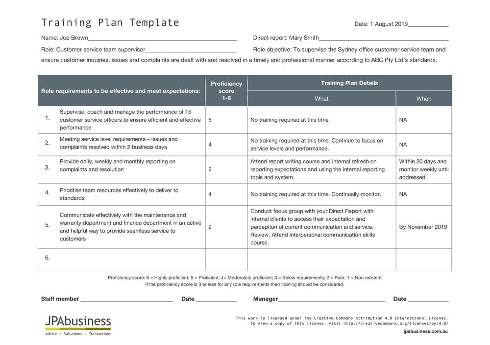 JPAbusiness Training Plan Example