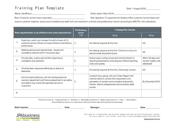 JPAbusiness Training Plan Example