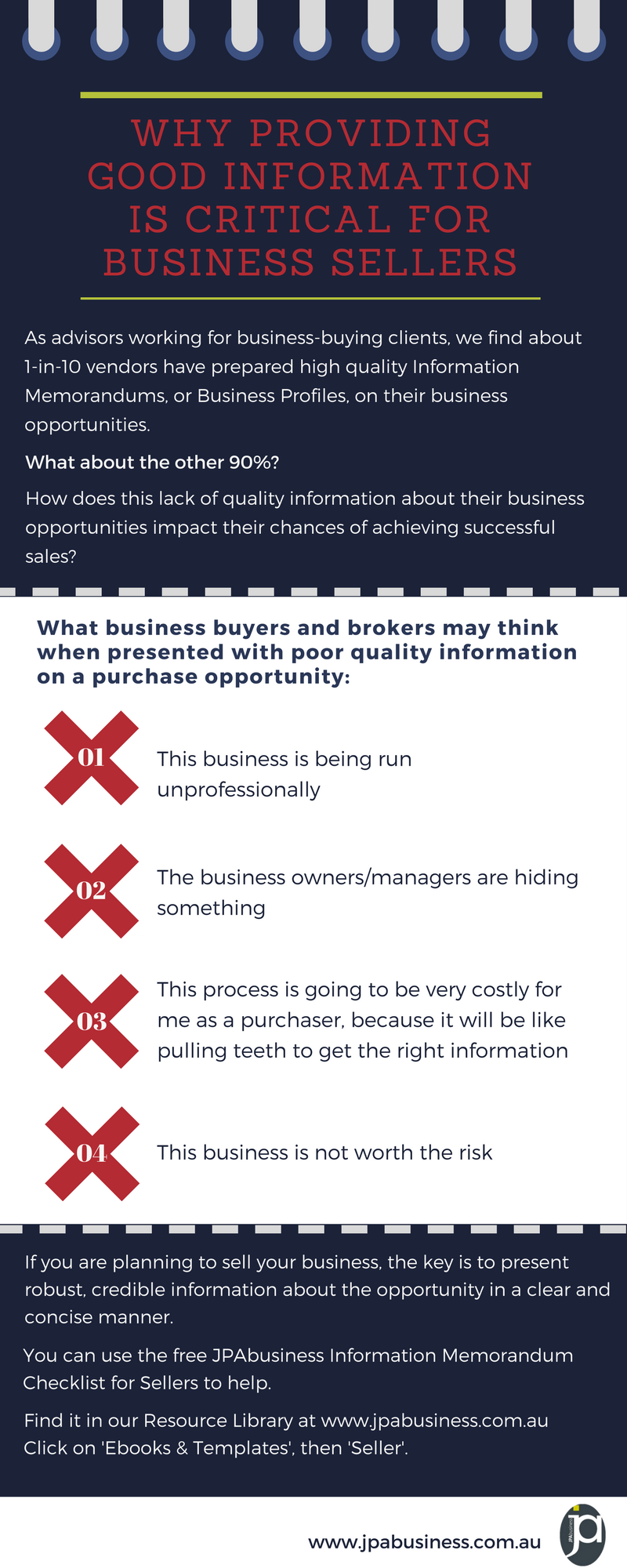 Why providing good information is critical for business sellers
