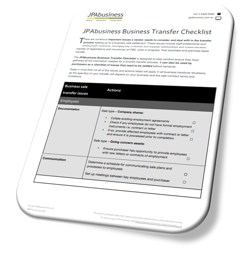 Business Transfer Checklist front page