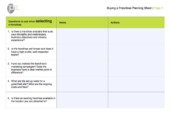 Buying a franchise planning sheet page 1
