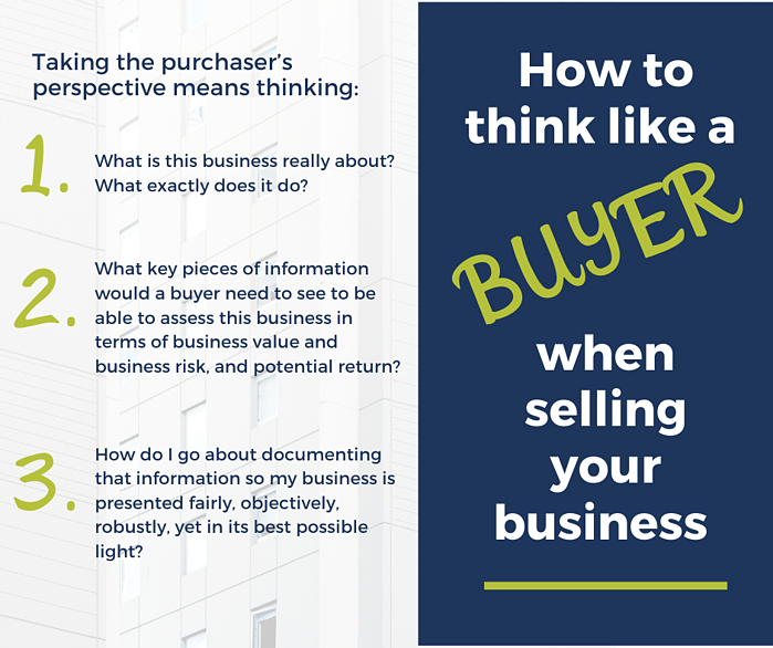 How to think like a buyer when selling your business infographic