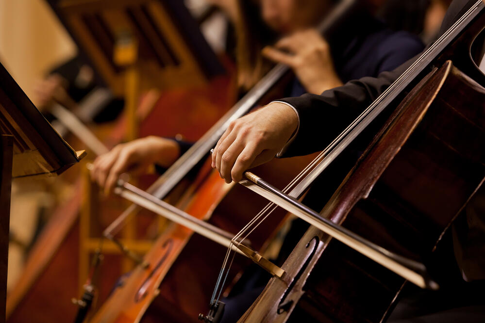 Close-up of two cello players' hands playing their instruments