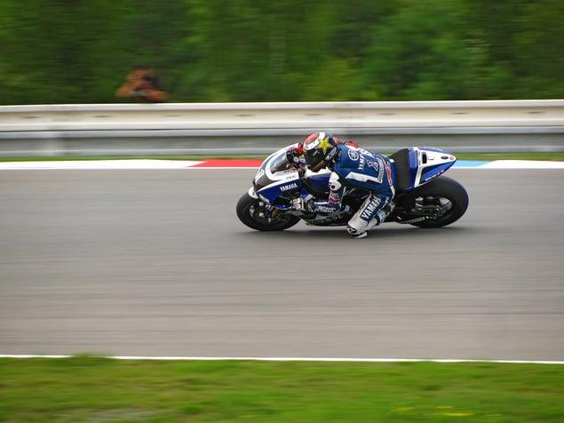 Motorbike racer Jorge Lorenzo riding for Yamaha